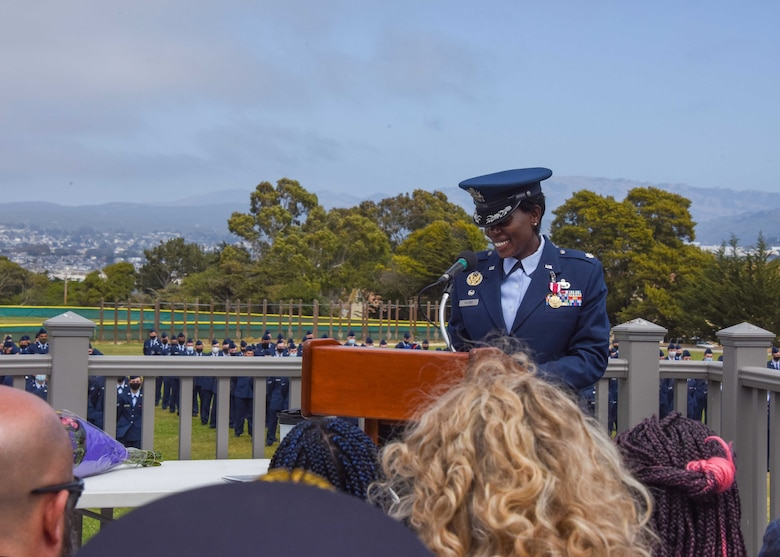 U.S. Air Force Lt. Col. Nicci Rucker, outgoing 311th Training Squadron commander, speaks during the change of command ceremony at Soldier Field, Presidio of Monterey, California, June 4, 2021. Rucker has taken a position at the Pentagon in Washington, D.C. (Photo courtesy of Natela Cutter)