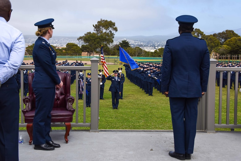 Members of the 311th Training Squadron salute their incoming commander, U.S. Air Force Lt. Col. William Taylor, at the change of command ceremony at Soldier Field, Presidio of Monterey, California, June 4, 2021.  Taylor was previously the commander of Detachment 3 at Ramstein Air Base in Germany. (Photo courtesy of Natela Cutter)