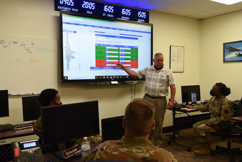 Walter DeClue, 81st Logistics Readiness Squadron installation deployment officer, gives a brief at Keesler Air Force Base, Mississippi, June 8, 2021. Logistics Plans are one of the five entities within the logistics readiness squadron. (U.S. Air Force photo by Airman 1st Class Jasmine Galloway)