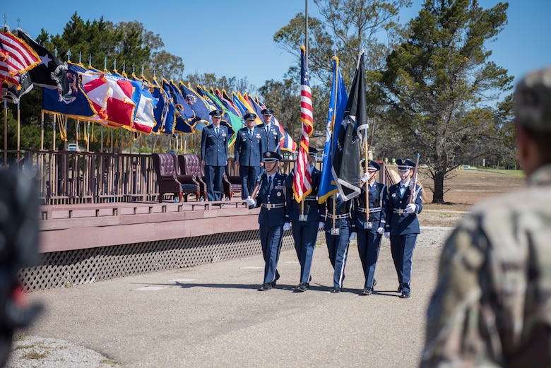 Vandenberg Honor Guard members present the colors during the change of command ceremony, June 11, 2021, Vandenberg Space Force Base, Calif. During the ceremony, Col. Robert A. Long assumed command of SLD 30 and the Western Launch and Test Range. (U.S. Space Force photo by Airman 1st Class Tiarra Sibley)