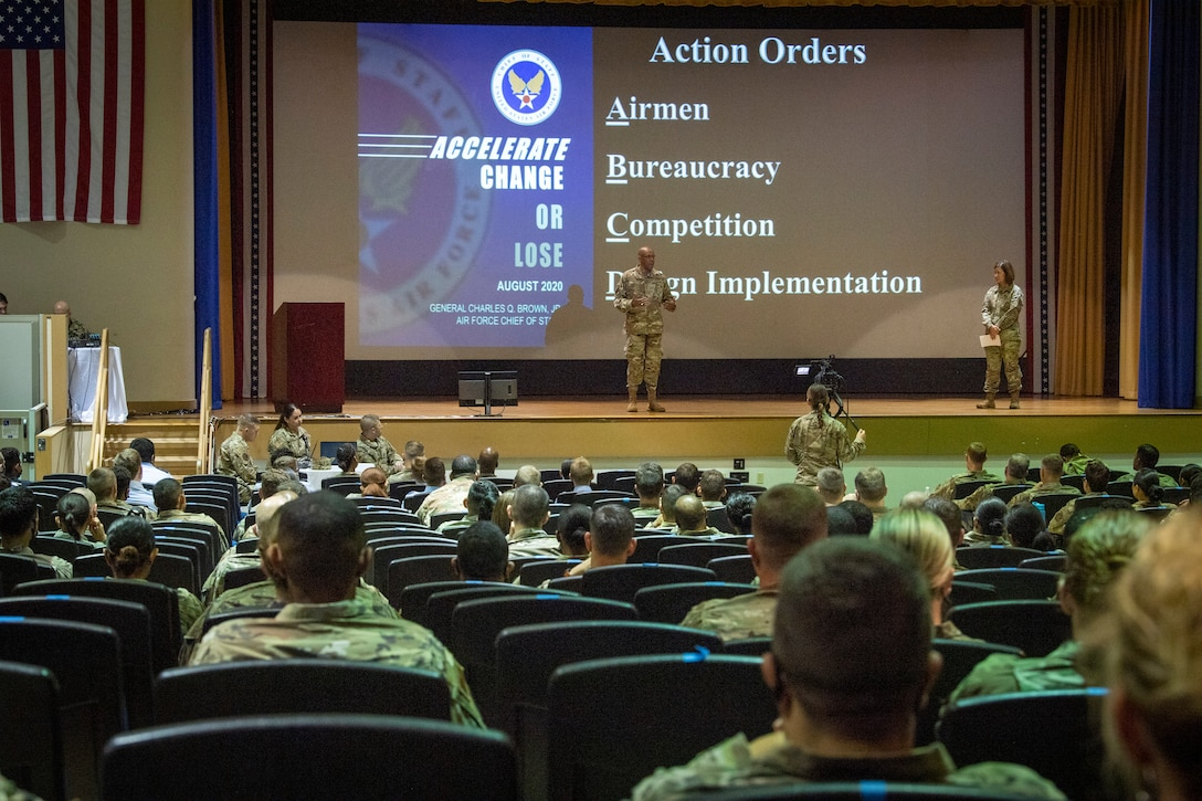 Chief of Staff of the Air Force, Gen. Charles Q. Brown Jr. and Chief Master Sgt. of the Air Force JoAnne S. Bass speak during an all call at MacDill Air Force Base, June 11, 2021.