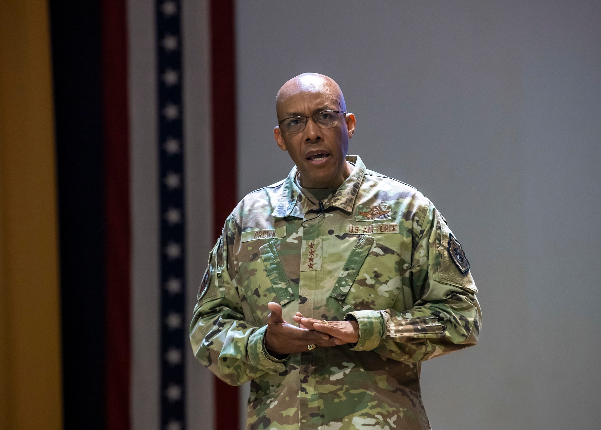 Chief of Staff of the Air Force, Gen. Charles Q. Brown Jr. addresses Team MacDill during an all call at MacDill Air Force Base, Florida, June 11, 2021.