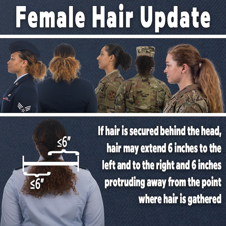 The Air Force revises Air Force Instruction 36-2903 to address differences in hair density and texture June 25, 2021. When hair is secured behind the head, the hair may extend six inches to the left and to the right and six inches protruding from the point where the hair is gathered. The 12-inch total width must allow for proper wear of headgear. (U.S. Air Force graphic)