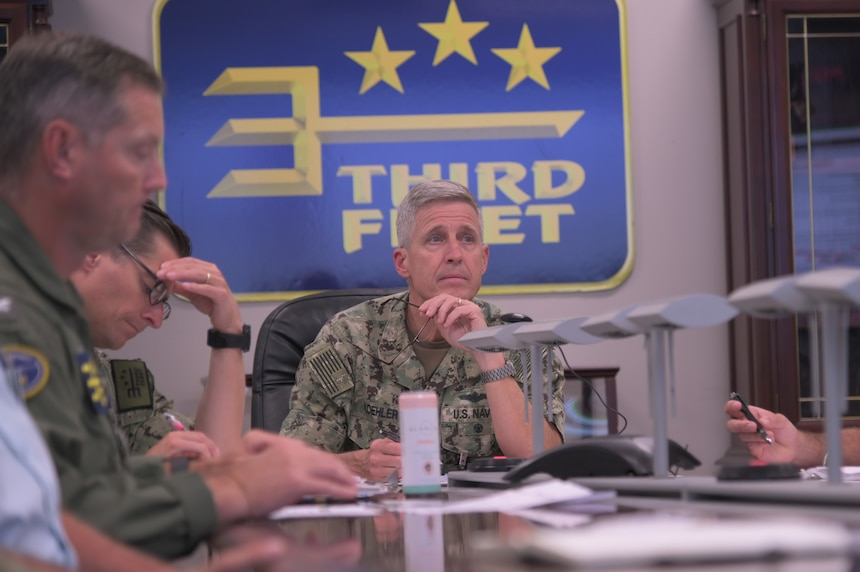 Vice Adm. Steve Koehler, commander, U.S. 3rd Fleet, attends Exercise Rim of the Pacific (RIMPAC) 2022 objectives and overview during the RIMPAC 2022 initial planning conference (IPC) at U.S. 3rd Fleet headquarters.