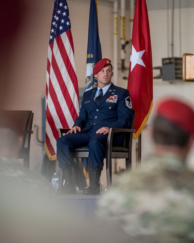 Master Sgt. Daniel Keller, a combat controller in the 123rd Special Tactics Squadron, attends a ceremony to present him with the Airman's Medal at the Kentucky Air National Guard Base in Louisville, Ky., June 12, 2021. Keller earned the award for heroism in recognition of his actions to save human life following a traffic accident near Louisville in 2018. (U.S. Air National Guard photo by Tech. Sgt. Joshua Horton)