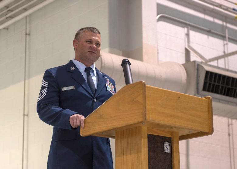 Chief Master Sgt. Shaun P. Cecil, chief enlisted manager for the 123rd Civil Engineer Squadron, speaks to audience members during his retirement ceremony April 10, 2021, at the Kentucky Air National Guard Base in Louisville, Ky. Cecil's career spanned 24 years. (U.S. Air National Guard photo by Staff Sgt. Clayton Wear)