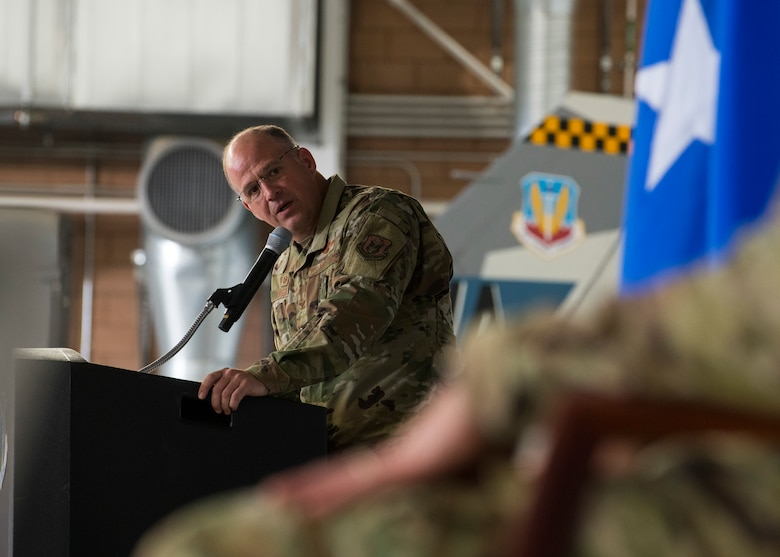 Col. Sean Rassas, 926th Wing commander, shares remarks during the 926th Wing change of command ceremony, June 13, 2021 at Nellis Air Force Base, Nevada. The 926th Wing is comprised of over 1,500 unit reservists who are classically associated in Total Force Integration throughout Air Combat Command. (U.S. Air Force photo by Senior Airman Brett Clashman)