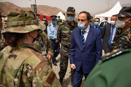 Governor Hassan Khalil, civic leader of Tiznit Province meets with U.S. and Moroccan military leaders at the Military Medical Surgical Field hospital in Tafraoute, Morocco on June 10, 2021 during African Lion 2021.