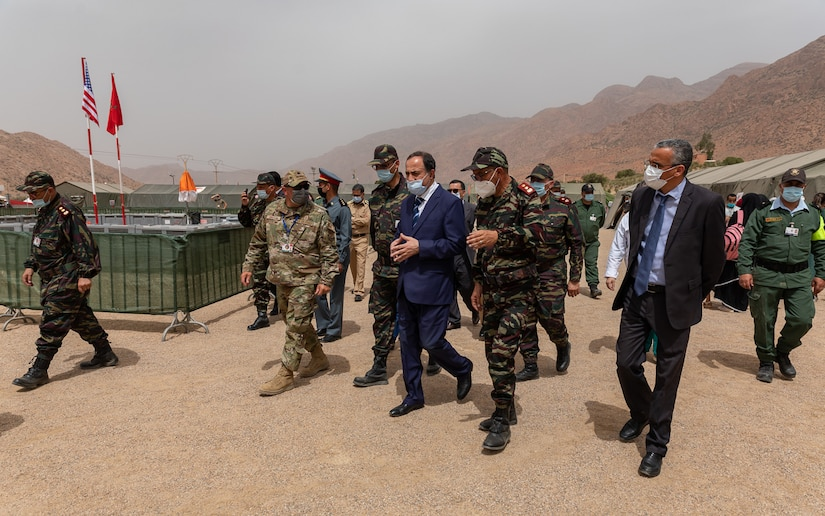 U.S. Air Force Lt. Col. Todd Bingham, commander of the U.S. military humanitarian civic assistance portion of African Lion 2021, meets with Governor Hassan Khalil, civic leader of Tiznit Province at the Military Medical Surgical Field hospital in Tafraoute, Morocco on June 10, 2021 during AL21.