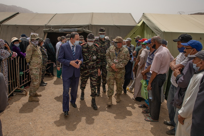 U.S. Air Force Lt. Col. Todd Bingham, commander of the U.S. military humanitarian civic assistance portion of African Lion 2021, meets with Governor Hassan Khalil, civic leader of Tiznit Province at the Military Medical Surgical Field hospital in Tafraoute, Morocco on June 10, 2021 during AL21