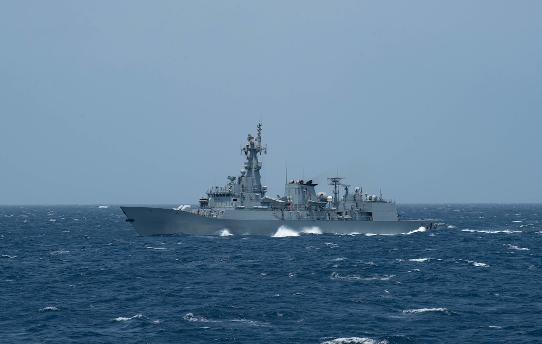 ARABIAN SEA (June 9, 2021) – Pakistan Navy frigate PNS Aslat  (F 265) operates in formation with guided-missile cruiser USS Monterey (CG 61), not pictured, during a passing exercise in the Arabian Sea, June 9. Monterey is operating with the Eisenhower Carrier Strike Group while deployed to the U.S. 5th Fleet area of operations in support of naval operations and providing airpower to protect U.S. and coalition forces as they conduct drawdown operation from Afghanistan. (U.S. Navy photo by Mass Communication Specialist Seaman Chelsea Palmer)