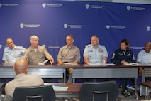 The 19th Sergeant Major of the Marine Corps, Sgt. Maj. Troy E. Black, sits on a Senior Enlisted Advisor (SEA) panel supporting Keystone at the National Defense University at Ft. McNair, District of Columbia, June 7, 2021. The Sergeant Major of the Marine Corps addressed questions with the support of his fellow SEA's, posed by Keystone students. The Keystone Course will educate Command Senior Enlisted Leaders currently serving in or slated to serve in a general or flag officer level joint headquarters or Service headquarters that could be assigned as a joint task force. (U.S. Marine Corps photo by Sgt. Victoria Ross)