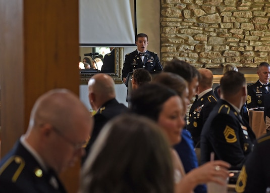 U.S. Army Lt. Col. Joseph Garwacki, 344th Military Intelligence Battalion commander, speaks during the 246th Army Birthday Ball Restoration Celebration at the Bentwood Country Club in San Angelo, Texas, June 11, 2021. The ball was held to honor those who led daily operations throughout the pandemic, such as frontline medical workers, the Soldiers and the San Angelo community. (U.S. Air Force photo by Senior Airman Abbey Rieves)