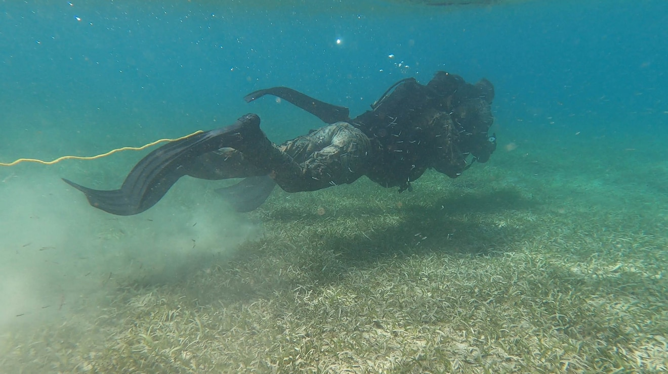 A U.S. Marine with 2d Reconnaissance Battalion (2d Recon), 2d Marine Division, participates in a dive during a water navigation course during Exercise Caribbean Coastal Warrior on Savaneta Kamp, Aruba, June 10, 2021. The exercise allows 2d Recon to expand its knowledge and proficiency when operating in littoral and coastal regions while increasing global interoperability with 32nd Raiding Squadron, Netherlands Marine Corps. (U.S. Marine Corps Lance Cpl. Jennifer E. Reyes)