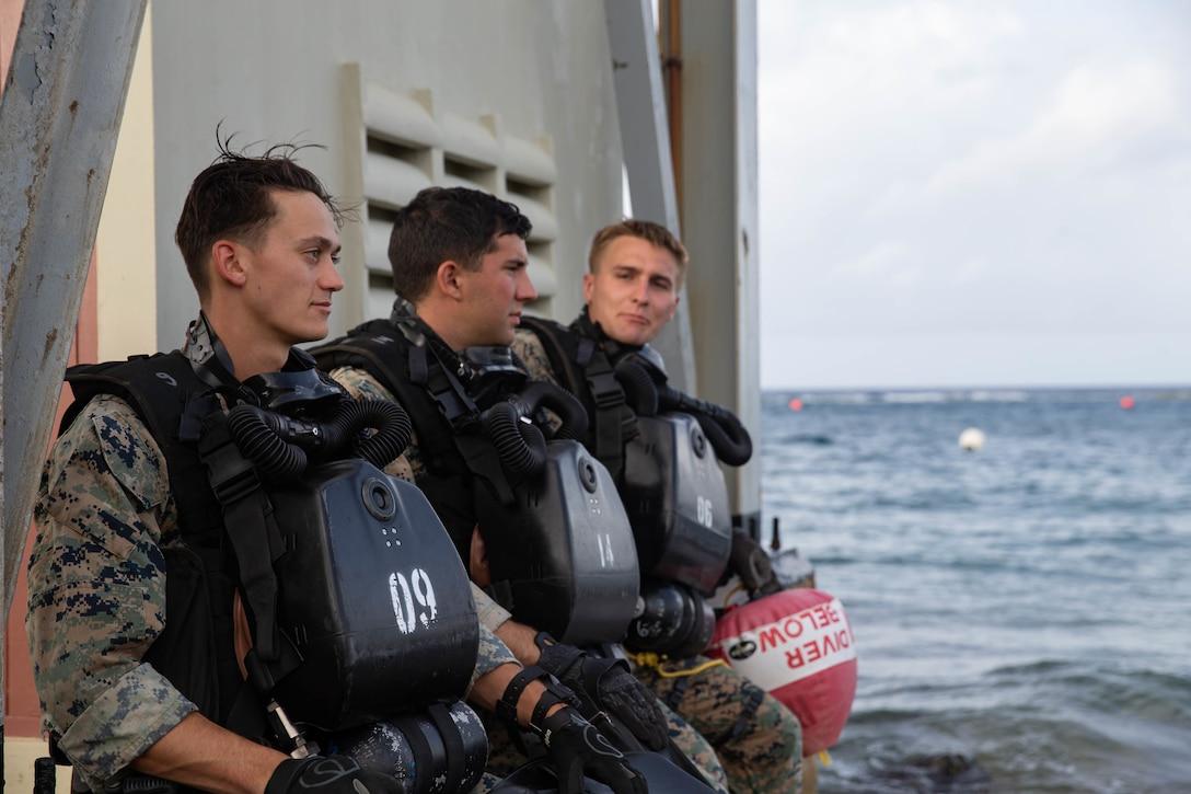 U.S. Marines with  2d Reconnaissance Battalion (2d Recon), 2d Marine Division, prepare to dive during Exercise Caribbean Coastal Warrior on Savaneta Kamp, Aruba, June 9, 2021.