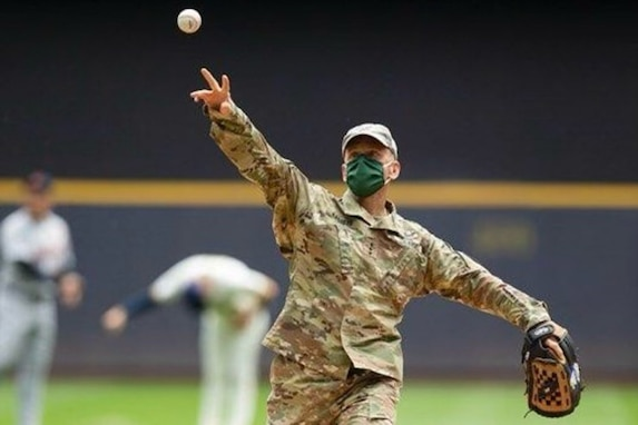 Lt. Gen. Daniel L. Karbler, commanding general of the U.S. Army Space and Missile Defense Command, throws out the ceremonial first pitch during the Milwaukee Brewers Military Appreciation Night game against the Detroit Tigers, May 31. The Brewers won the game 3-2 in the 10th inning. (Courtesy photo)
