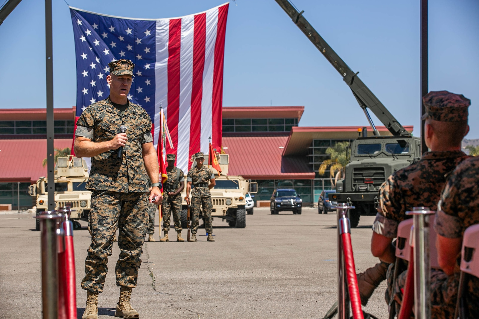 U.S. Marine Corps Lt. Col. Shawn A. Meier, commanding officer, Combat Logistics Battalion 5, gives remarks.