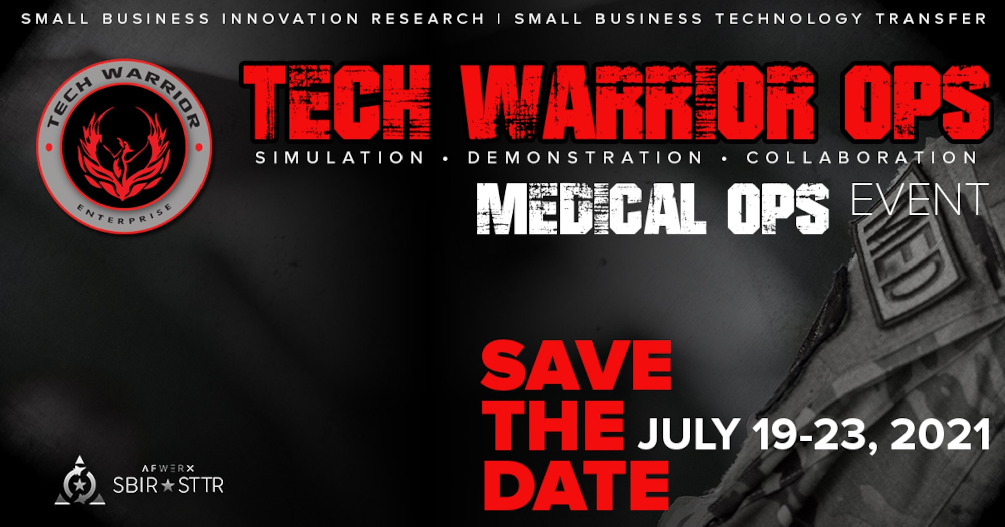 Join the Tech Warrior Enterprise team for the virtual Tech Warrior Medical OPS event scheduled for July 19-23, 2021. Government tech scouts, industry subject matter experts, and many small businesses will be in attendance.