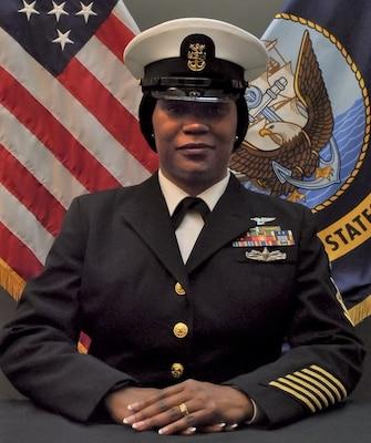 SAN DIEGO -- (June 14, 2021) Official portrait of Master Chief Petty Officer Myrtis Calhoun. (U.S. Navy)