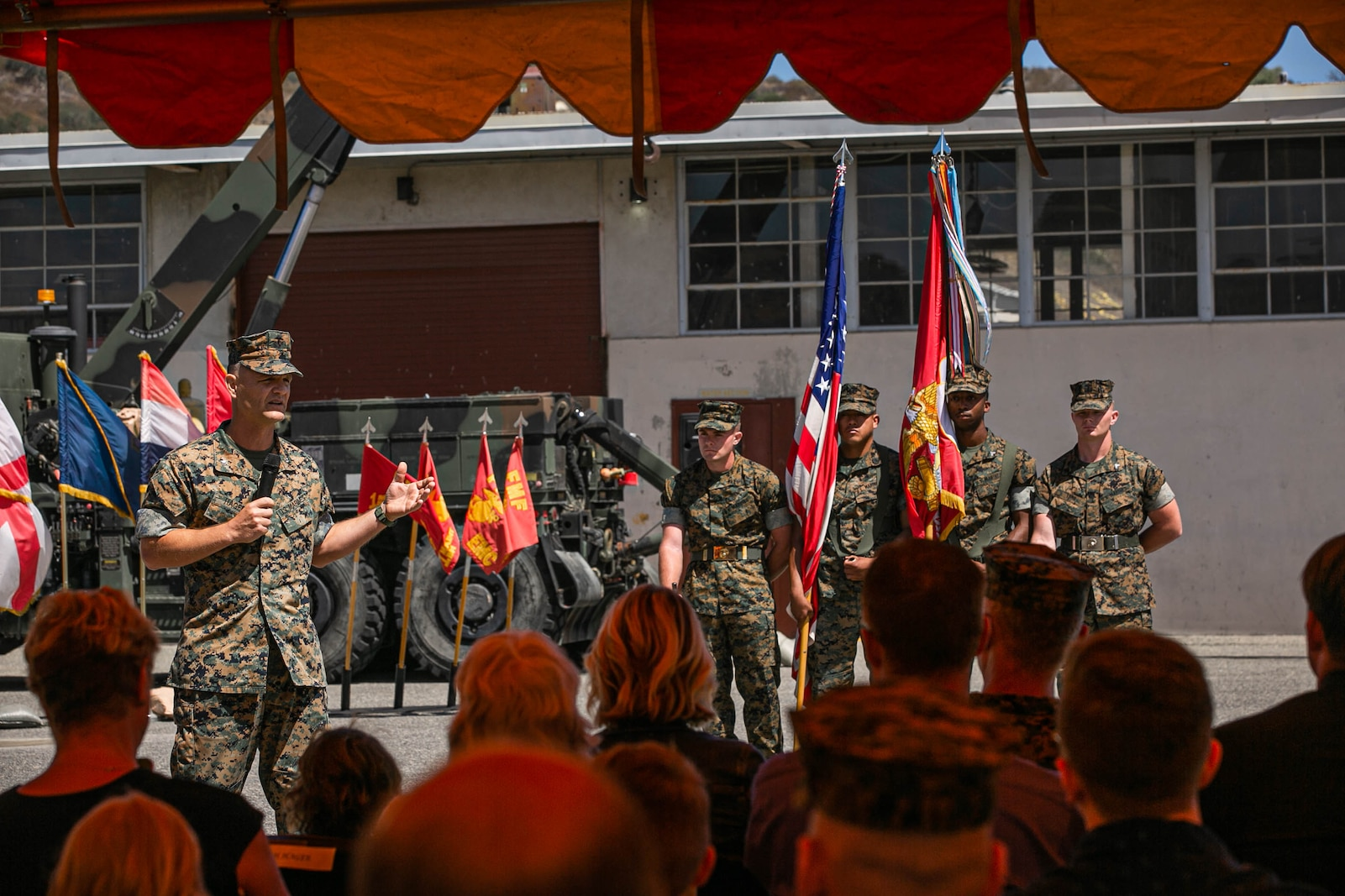 U.S. Marine Corps Lt. Col. Matt Hager, outgoing commanding officer, 1st Maintenance Battalion, gives remarks during the 1st Maint Bn change of command ceremony.