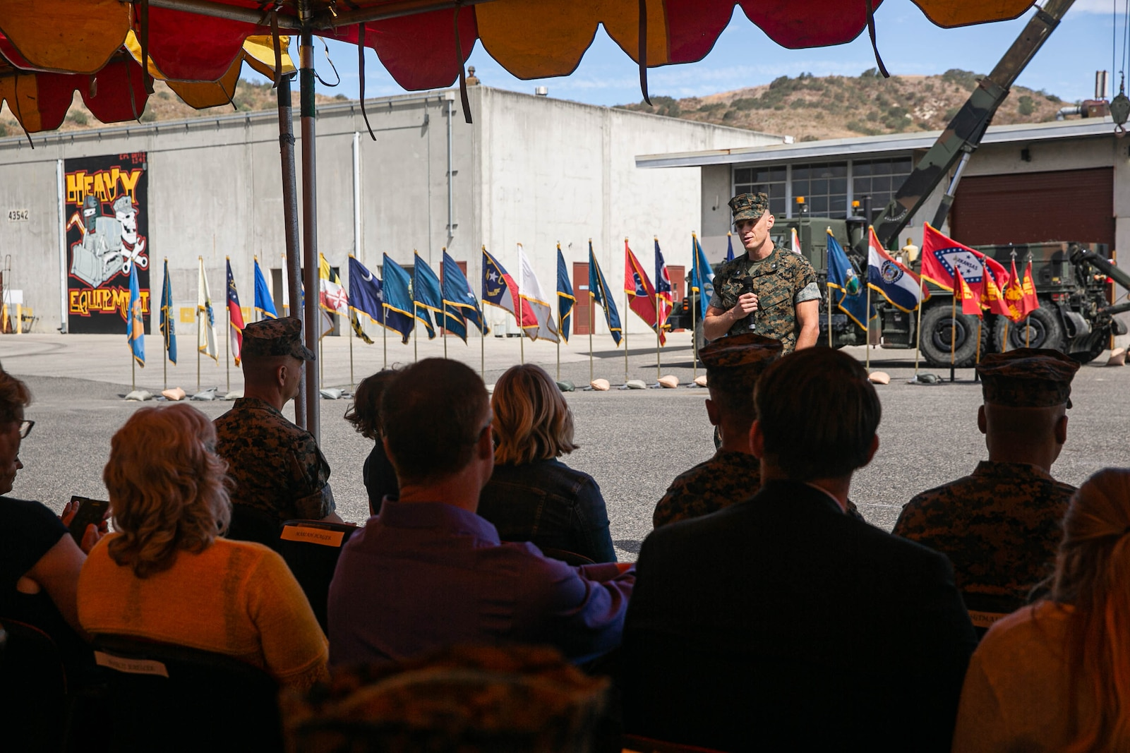 U.S. Marine Corps Lt. Col. Joseph R. Petkus, commanding officer, 1st Maintenance Battalion, gives remarks during the 1st Maint Bn change of command ceremony.