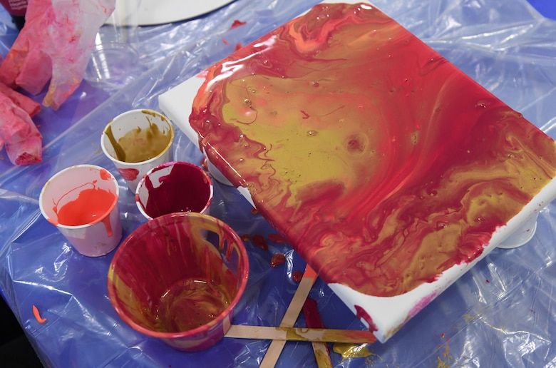 An acrylic painted canvas is displayed during the Keesler Youth Center fine arts camp at Keesler Air Force Base, Mississippi, June 10, 2021. The youth center offers a variety of camps throughout the summer for children of military personnel. (U.S. Air Force photo by Kemberly Groue)
