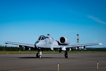 An A-10 Thunderbolt II assigned to the 25th Fighter Squadron, Osan Air Base, Republic of Korea, taxis before taking off during RED FLAG-Alaska 21-2 on Eielson Air Force Base, Alaska, June 14, 2021.