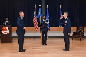 Col. Jeffrey Downs relinquishes command of the 940th Air Refueling Wing June 12, 2021, at Beale Air Force Base, California.