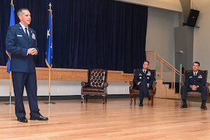 Maj. Gen. Jeffrey Pennington, Fourth Air Force commander from March Air Reserve Base, California, speaks during a change of command ceremony June 12, 2021, at Beale Air Force Base, California.