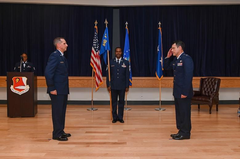 Col. Erik Aufderheide assumes command of the 940th Air Refueling Wing June 12, 2021, at Beale Air Force Base, California.