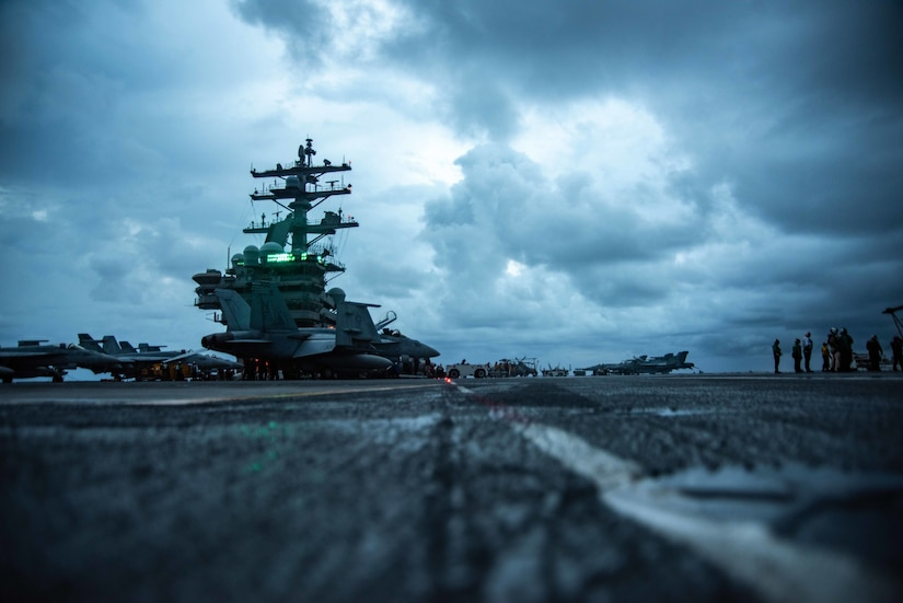 A view from the ground up of the USS Ronald Reagan aircraft carrier.