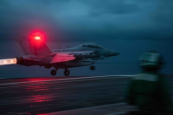 210614-N-WS494-1064 SOUTH CHINA SEA (June 14, 2021) An EA-18G Growler attached to the Shadowhawks of Electronic Attack Squadron (VAQ) 141 launches from the flight deck of the U.S. Navy's only forward-deployed aircraft carrier USS Ronald Reagan (CVN 76). Ronald Reagan, the flagship of Carrier Strike Group 5, provides a combat-ready force that protects and defends the United States, as well as the collective maritime interests of its allies and partners in the Indo-Pacific region. (U.S. Navy photo by Mass Communication Specialist 3rd Class Quinton Lee)