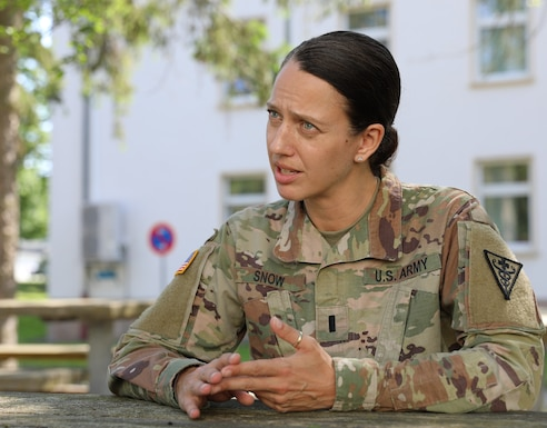 1st Lt. Jenna Snow, an entomologist with 3rd Medical Command (Deployment Support) at Fort Gillem Enclave, GA speaks about her experience during a medical command post exercise, part of Defender Europe 21, on Daenner Kaserne in Kaiserslautern, Germany June 11, 2021. Defender Europe 21 is an annual large-scale U.S. Army Europe and Africa-led joint, multinational exercise designed to build readiness and interoperability between U.S., NATO and partner militaries.  (U.S. Army photo by Sgt. Christopher Stelter)