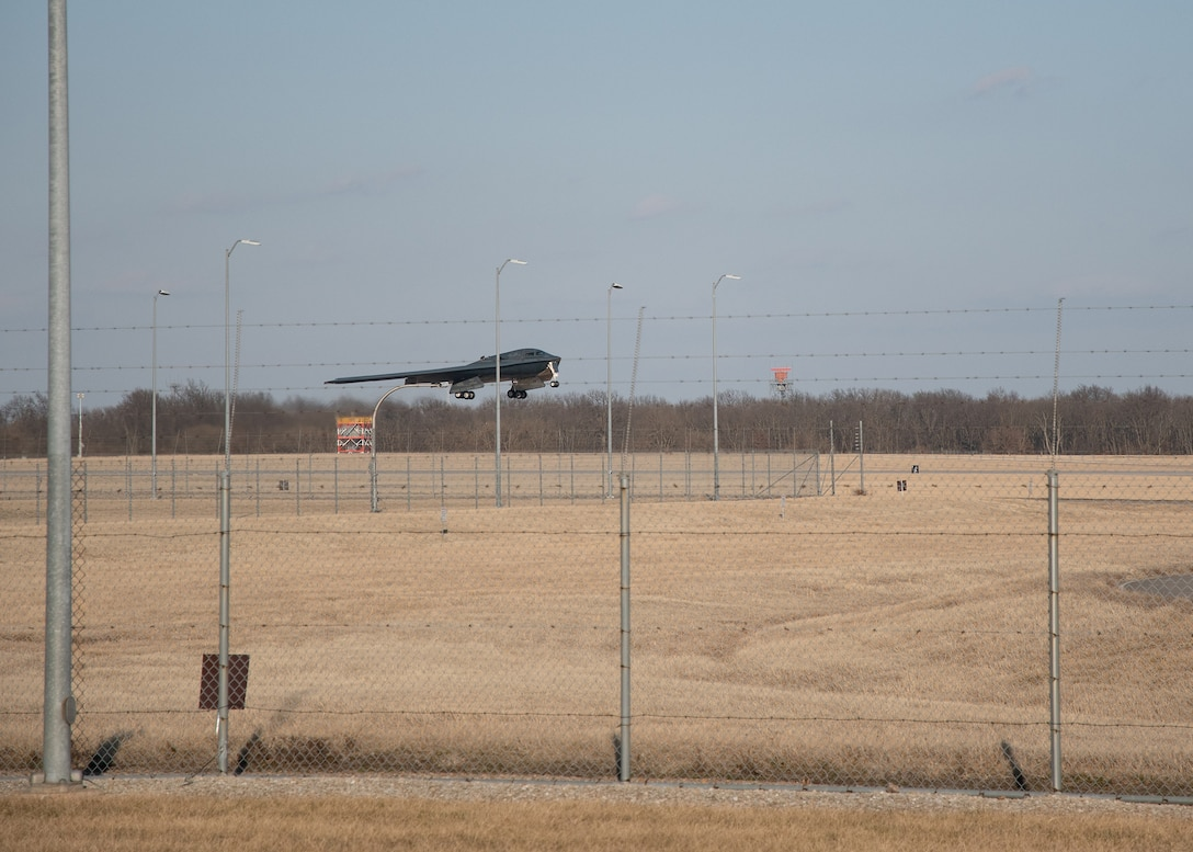 A B-2 Spirit stealth bomber takes off from the runway at Whiteman Air Force Base, Missouri, March 6, 2021.