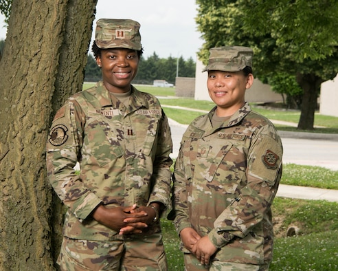 Capt. Lindamira Nkwenti, 436th Medical Support Squadron resource management flight commander, and Master Sgt. Jaerynne Rose, 436th Airlift Wing commander's action group superintendent, installation project officers for the 2021 Air Force Assistance Fund campaign, Dover Air Force Base, Delaware, June 9, 2021. Dover placed first in Air Mobility Command for active duty participation and 10th Air Force wide. (U.S. Air Force photo by Mauricio Campino)