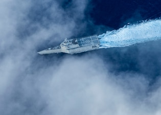 USS Tulsa (LCS 16) conducts routine operations in the Philippine Sea.