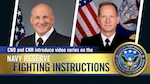 Chief of Naval Operations (CNO) Adm. Mike Gilday, joined Chief of Navy Reserve (CNR) Vice Adm. John Mustin, to introduce a four-part video series on the Navy Reserve Fighting Instructions (NRFI). (U.S. Navy graphic by Chief Mass Communication Specialist Stephen Hickok)