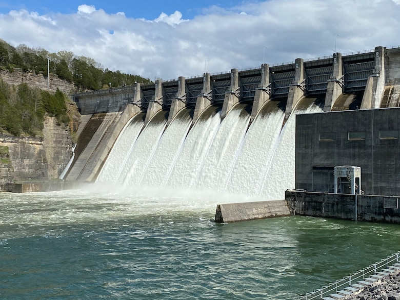 Center Hill Dam on the Caney Fork River in Lancaster, Tenn., discharges water from its spillways April 8, 2021. (USACE Photo by Lee Roberts)