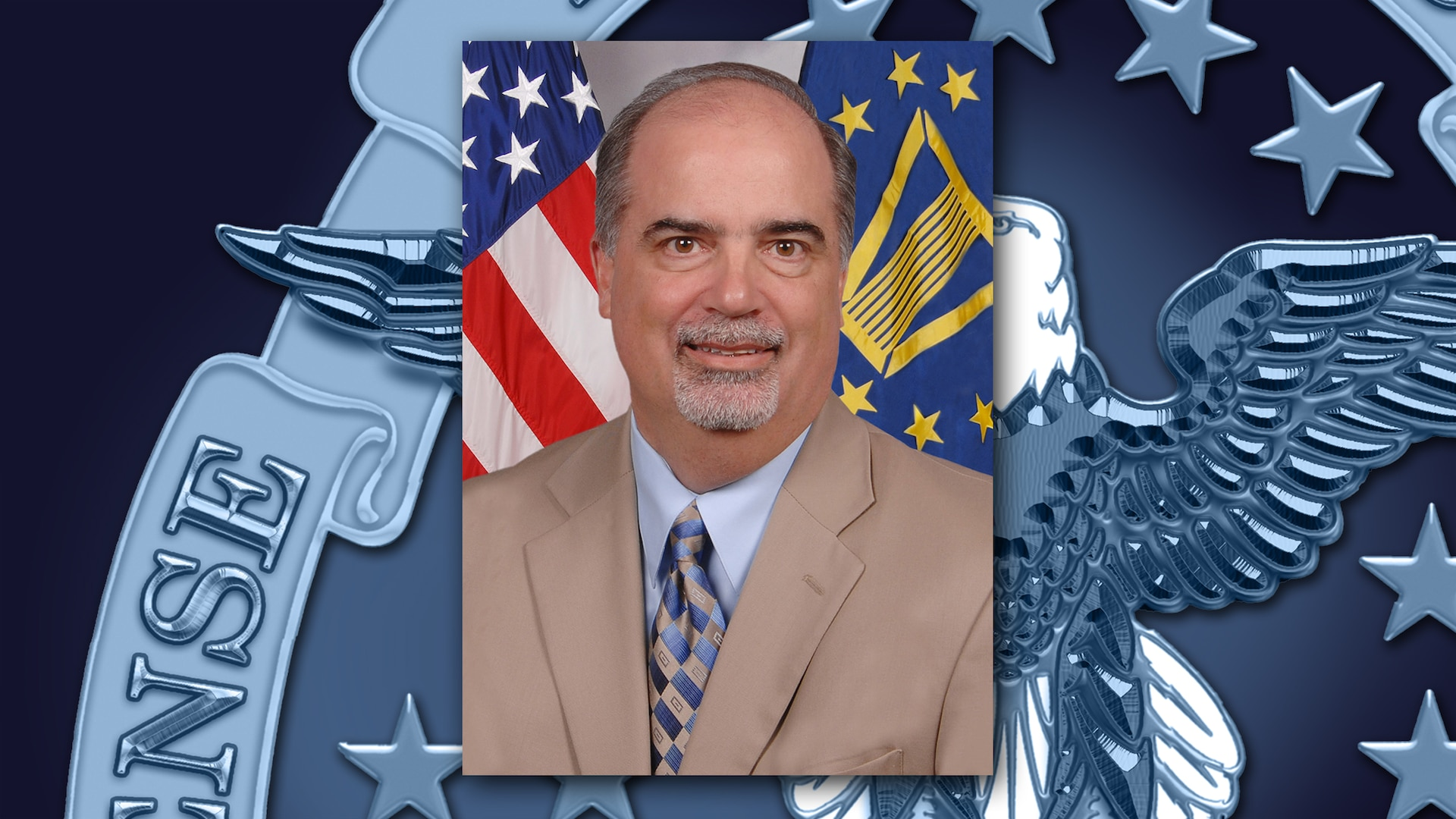 A portrait of Tony Poleo on a background featuring a portion of the DLA emblem