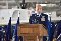 Col. John Ross, 316th Operations Group commander, speaks during the 316th Operations Group change of command ceremony, June 10, 2021, at Joint Base Andrews, Md. A change of command is a military tradition that represents a formal transfer of authority and responsibility for a unit from one commander to another. (U.S. Air Force photo by Senior Airman Daniel Brosam)