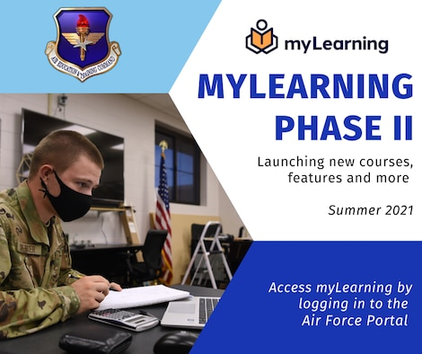 Airman at table on graphic announcing myLearning phase II