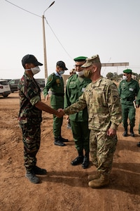 U.S. Army Gen. Christopher G. Cavoli, the U.S. Army Europe and Africa commanding general, and Belkheir El Farouk, the Commander of Moroccan Southern Zone vist Tifnit Training Area, Morocco, June 9, 2021.