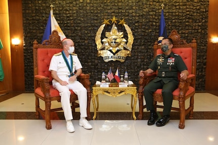 210610-O-NO824-0001 MANILA, Philippines (June 10, 2021) U.S. 7th Fleet Commander Vice Adm. Bill Merz meets with Chief of Staff of the Armed Forces of the Philippines Gen. Cirilito Sobejana June 10, during a scheduled visit. Under Commander, U. S. Pacific Fleet, 7th Fleet is the U.S. Navy's largest forward-deployed numbered fleet, and routinely interacts and operates with 35 maritime nations in preserving a free and open Indo-Pacific region. (Courtesy photo by SN1 Donald Viluan PN/PAOAFP)