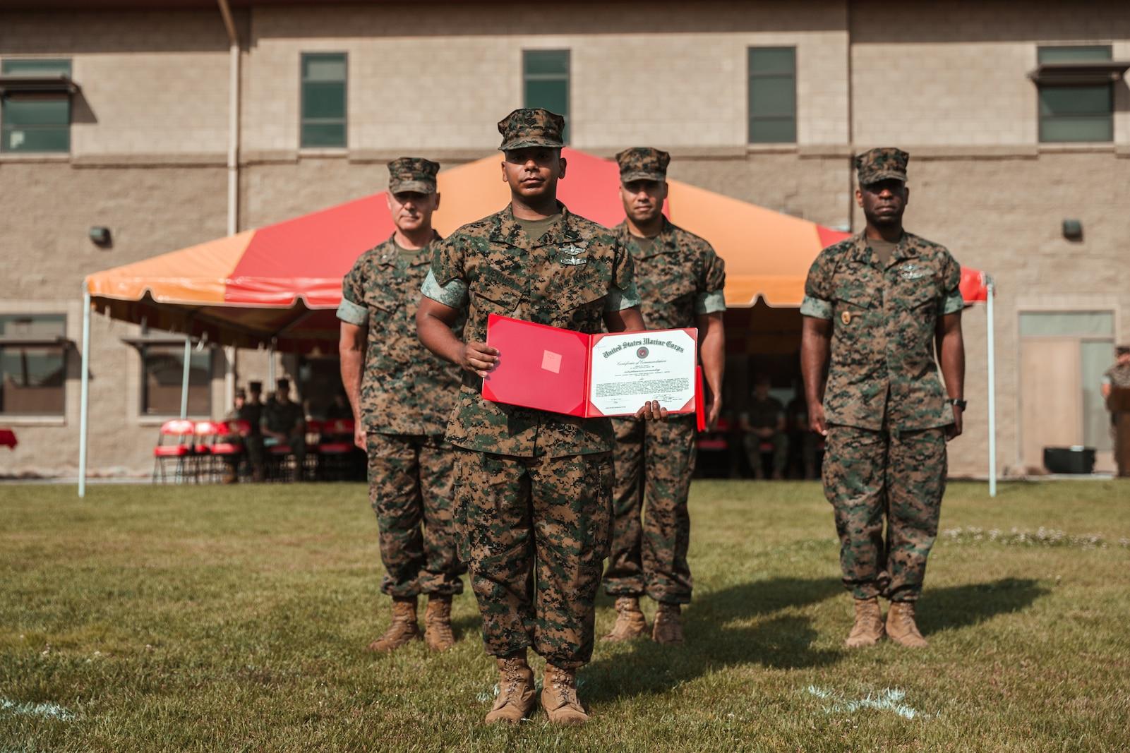 U.S. Navy Hospitalman Michael W. Baker received the Bluejacket of the Quarter Award.