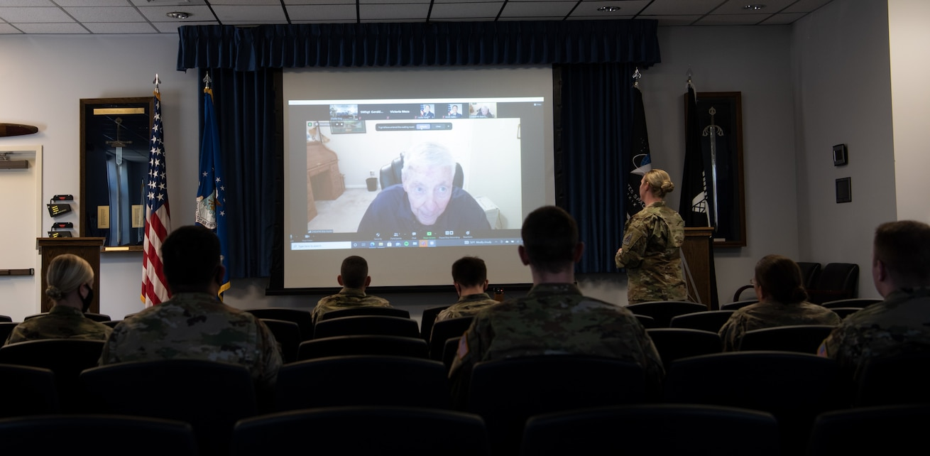 U.S. Air Force Master Sgt. Shailie King, 21st Comptroller Squadron and Garrison Staff Agency first sergeant, asks retired Chief Master Sgt. of the Air force #5 Bob Gaylor a question during a virtual forum.