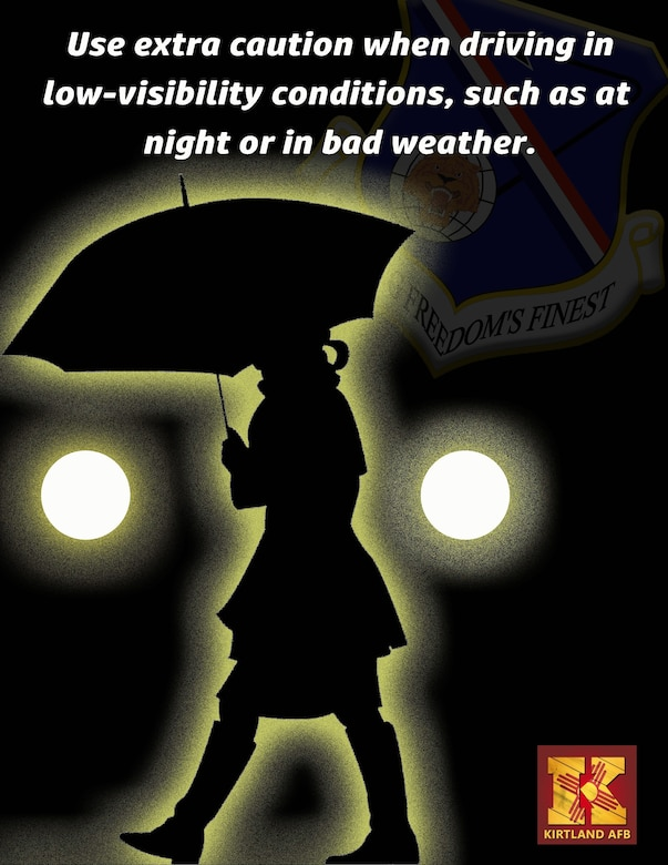 Graphic of female pedestrian holding an umbrella at night.