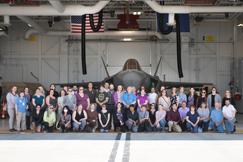 Vermont state pandemic leaders stand for a group portrait in front of an F-35A Lightning II at the Vermont Air National Guard base, South Burlington, Vermont, June 10, 2021. Senior leaders from the Vermont National Guard honored a small group from Vermont's Pandemic Response Team, recognizing them for their selfless commitment to supporting Vermonters during the ongoing COVID-19 pandemic. (U.S. Air National Guard photo by Senior Master Sgt. Michael Davis)