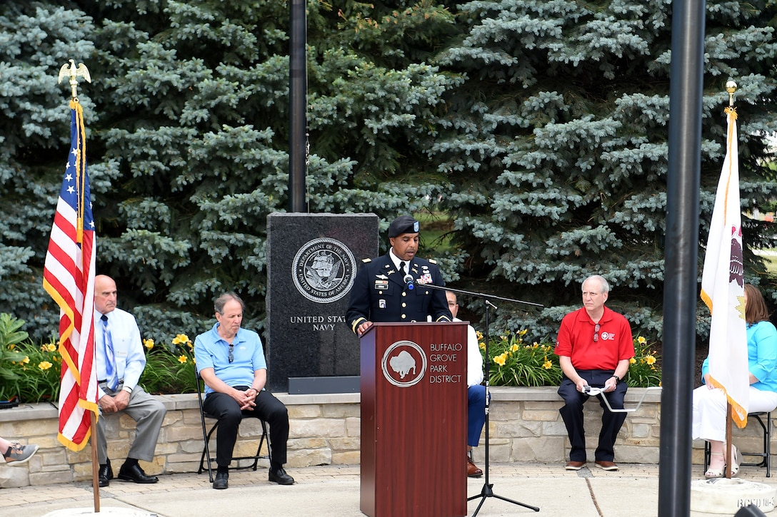 Lt. Col. Keith A. Cowan, 3rd Battalion, 335 Infantry Regiment, 85th U.S. Army Reserve Support Command, delivers remarks during the Village of Buffalo Grove Flag Day commemoration, June 14, 2021.