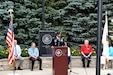 Lt. Col. Keith A. Cowan, 3rd Battalion, 335 Infantry Regiment, 85th U.S. Army Reserve Support Command, delivers remarks during the Village of Buffalo Grove Flag Day commemoration, June 14, 2021.  (U.S. Army Reserve photo by Staff Sgt. Erika Whitaker)