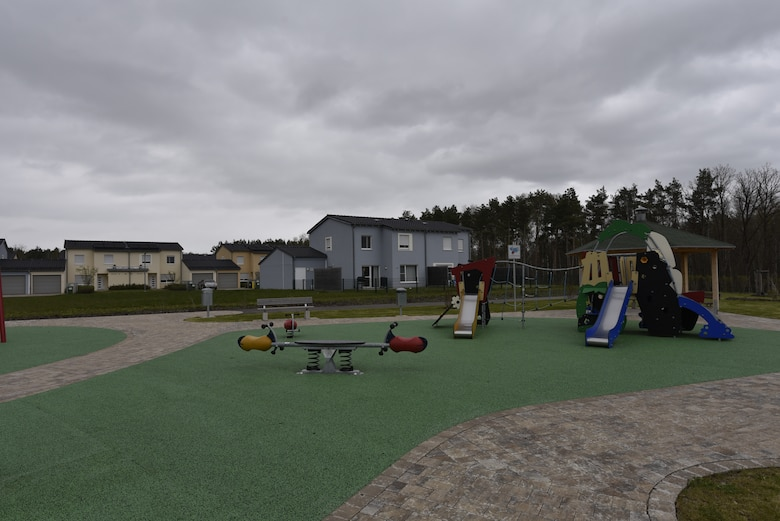 A recently completed playground and community gathering space can be seen here May 6, 2021 in the Kittenberg Housing Area on Rose Barracks in Vilseck, Germany, which is part of U.S. Army Garrison Bavaria. The U.S. Army Corps of Engineers delivered 20 new family homes and associated infrastructure in 2016, visible in the background, for Soldiers and their families. In 2021, the U.S. Army Corps of Engineers is delivering an additional 29 family homes and associated infrastructure, including the playground and gathering area that sit between the two new areas of housing within the larger Kittenberg Housing Area. The playground, gathering area and homes are part of a larger, long-term collaboration between the U.S. Army Corps of Engineers and the garrison to provide new and renovated family housing and other quality of life projects for Soldiers and their families at Rose Barracks.